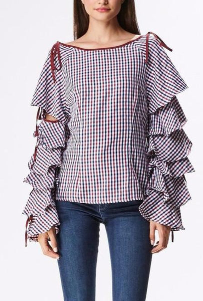 Checkered Tiered Sleeves Blouse