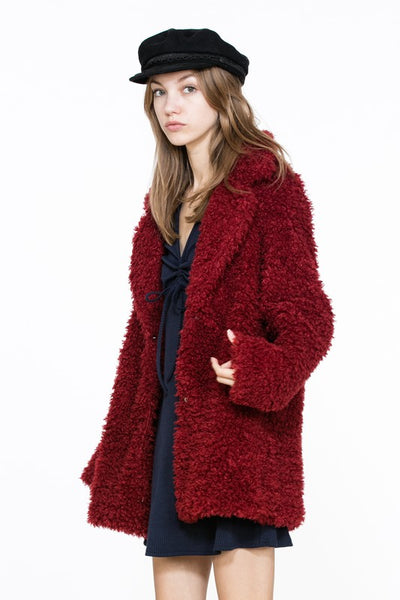 Burgundy Puffer Coat Jacket