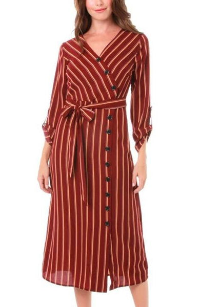 Burgundy Striped Buttoned Midi Dress