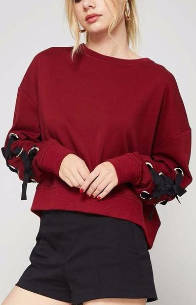 Lace-up Burgundy Sweatshirt