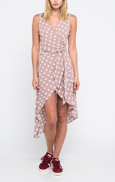 polkadot wrap around dress