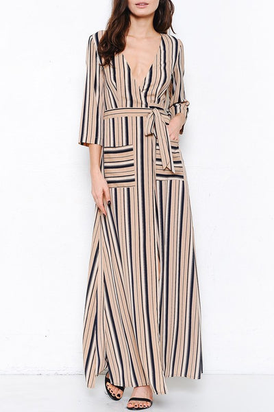 Striped Maxi Wrap Dress