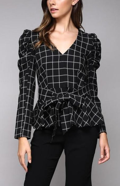 Checkers Tie Waist Top