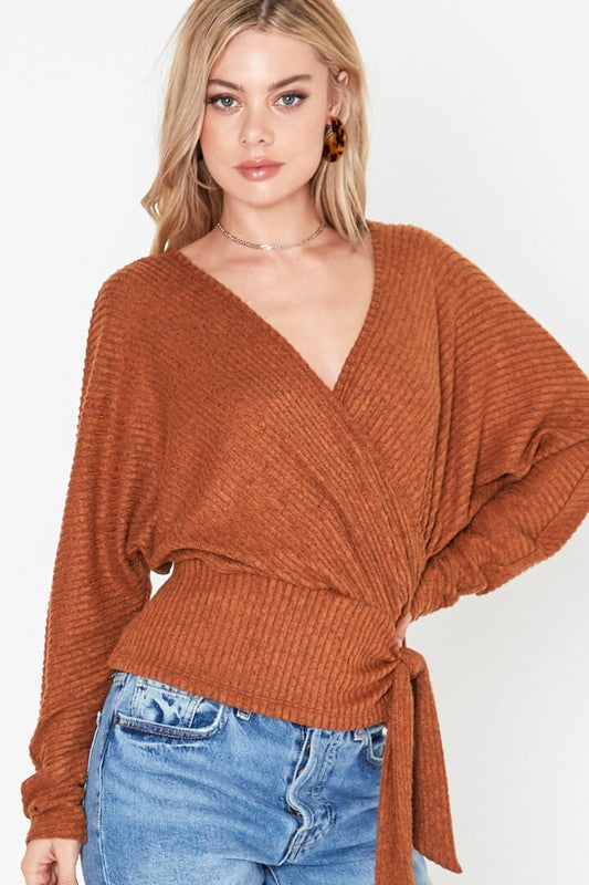 bb4f436cbc2e Style  2395. Wrap Style Knit Dolman Pullover