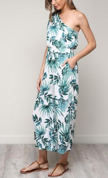 One Shoulder Tropical Jumpsuit
