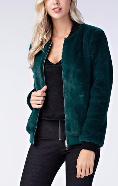 Faux Fur Green Bomber Jacket