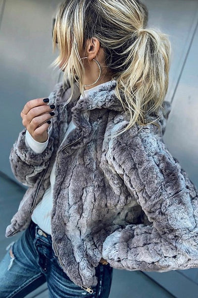 Miss Gray Faux Fur Hooded Jacket