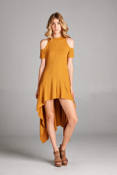 Mustard Hi-Row Open Shoulder Dress