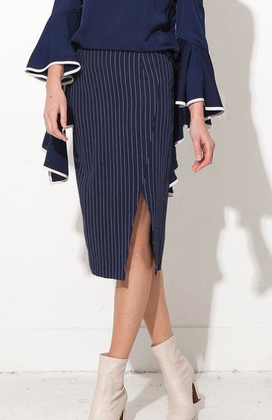 Jovonna London Midi Striped Skirt