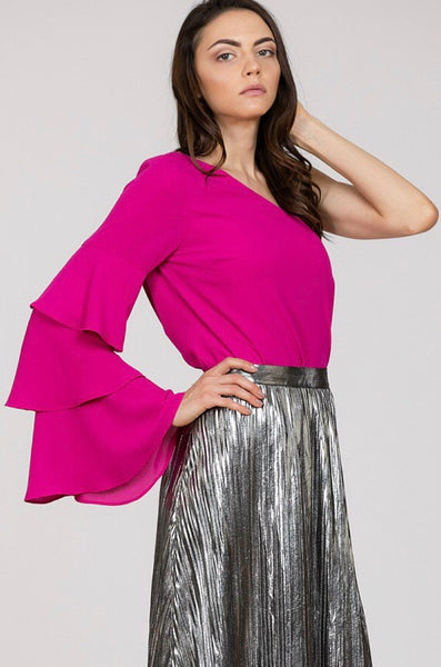 magenta one shoulder blouse with ruffle sleeve