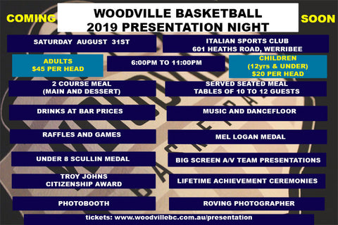 Woodville Basketball 2019 Presentation Night Tickets