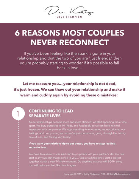 6 Reasons Most Couples Never Reconnect