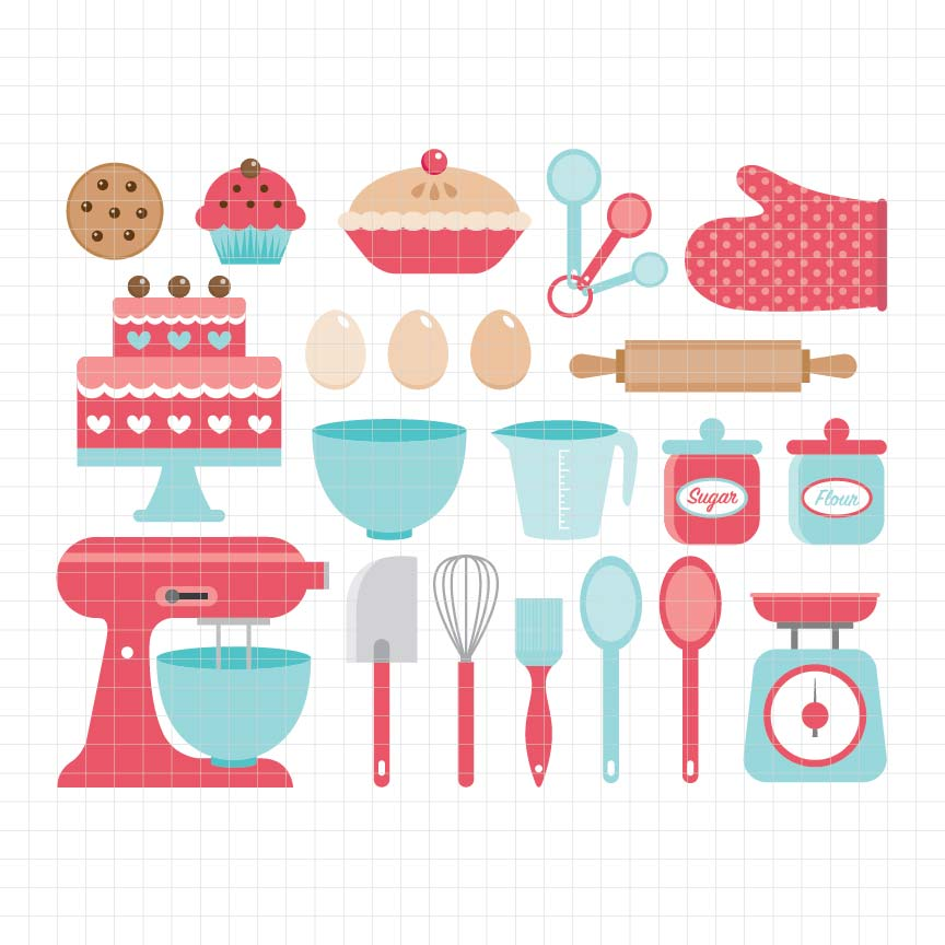 baking utensils, cooking, mixer, cake, rolling pin, oven mitt, pie, digital clipart, graphic, vector, illustrations