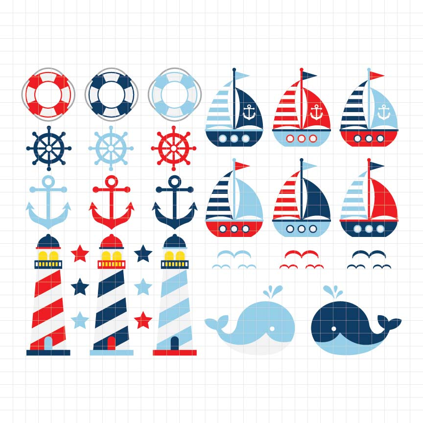 nautical, sailing away, sailor, whale, anchor, lifeboat, sailboat, digital clipart, graphic, vector, illustration, scrapbook, craft supplies, printable store, printable shop