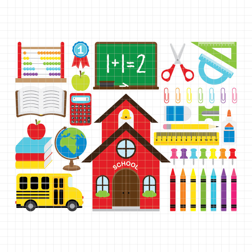 back to school, school building, school bus, school equipment, pencil, scissor, ruller, paper clip, calculator, globe, digital clipart, graphic, vector, illustration