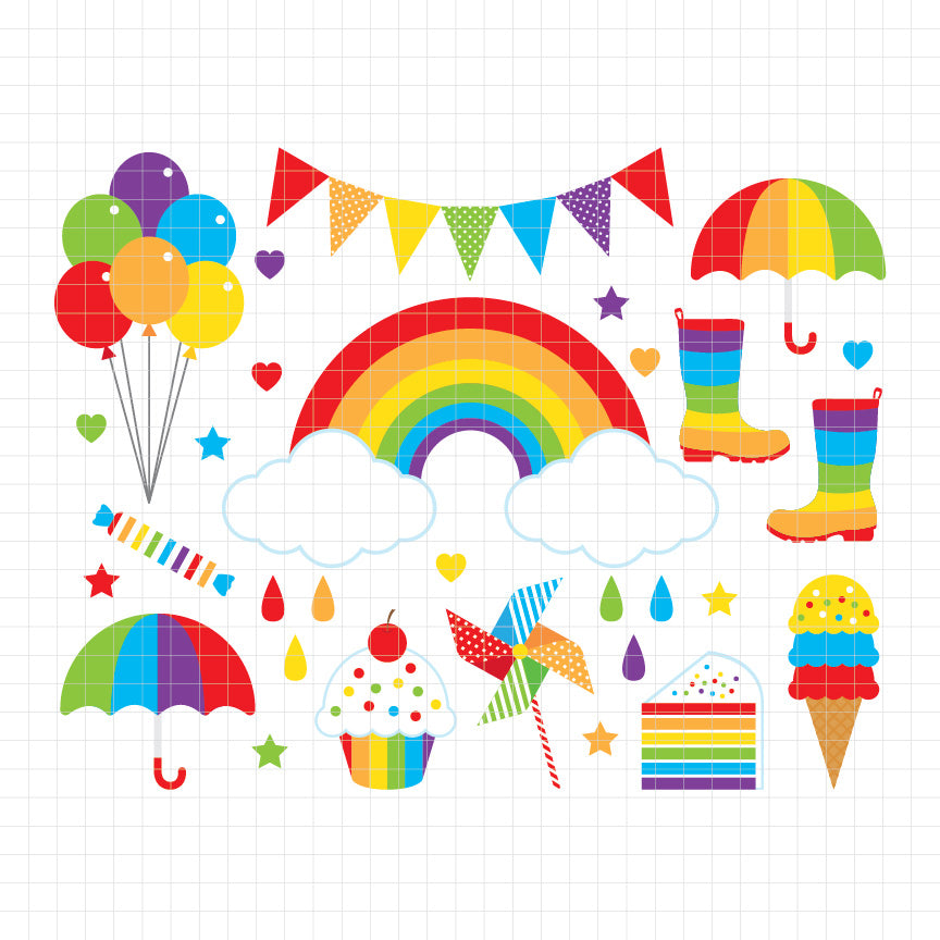 rainbow, colorful, bunting banner, balloon, cupcake, umbrella, boots, digital clipart, graphic, vector, illustrations