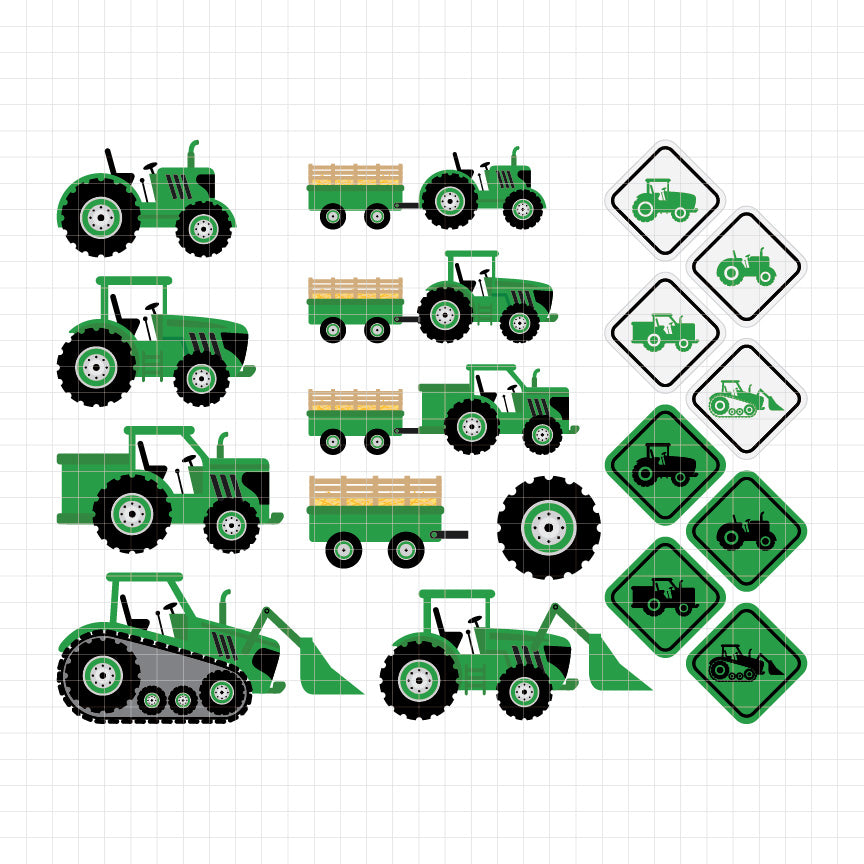 Green Tractors Digital Clipart