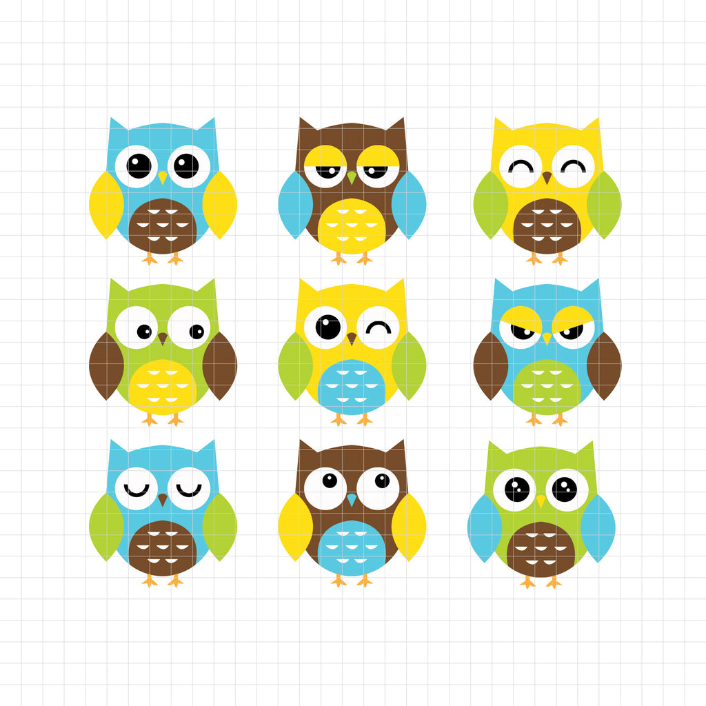 animals, owl, bird, blue, yellow, green, emotion, expressive, expression, digital clipart, vector, graphic, illustrations