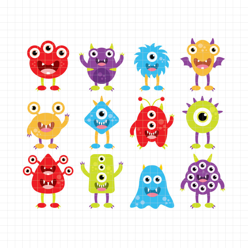 animals, monsters, cute, silly, funny face, digital clipart, graphic, vector, illustrations