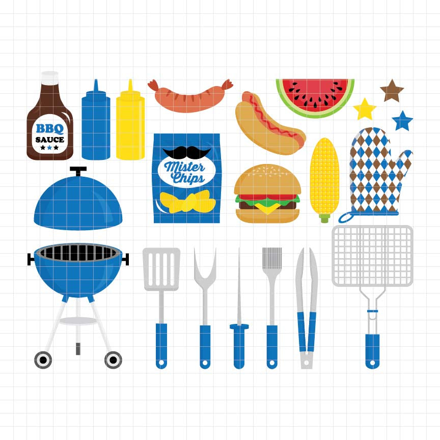 Barbeque Party Digital Clipart