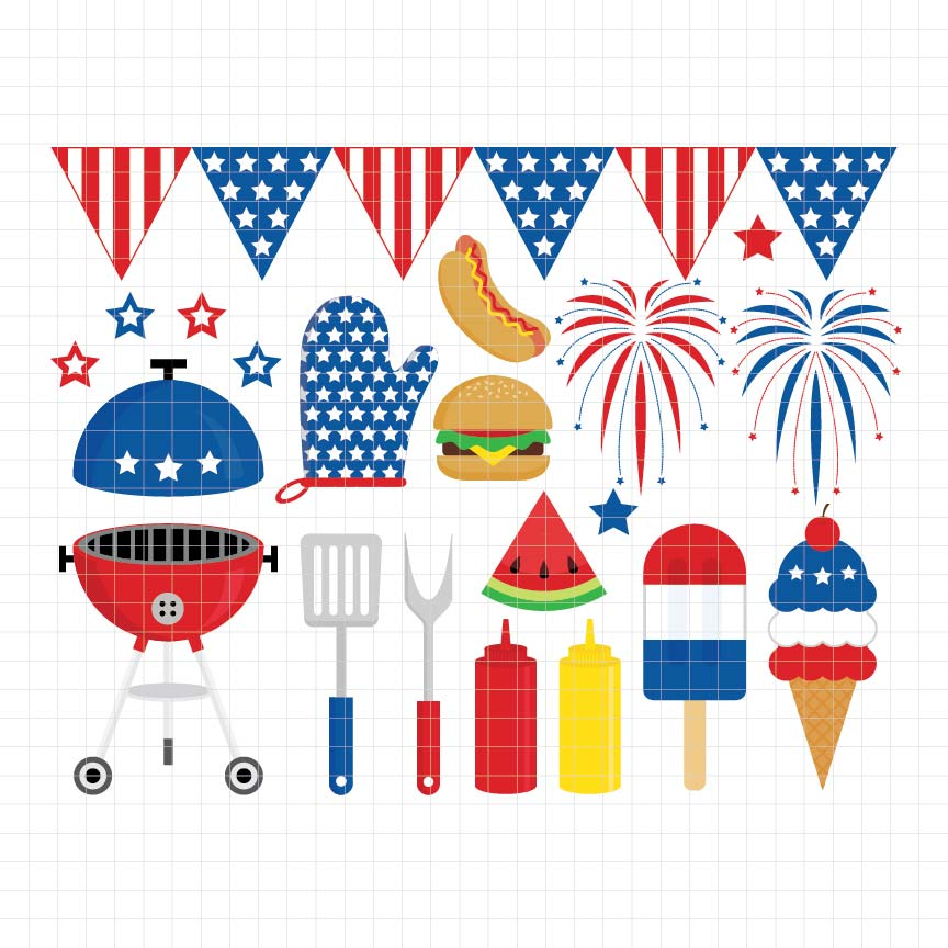 4th of july, fourth of july, independence day, usa, america, united states, american flag, bbq party, digital clipart, graphic, vector, illustrations