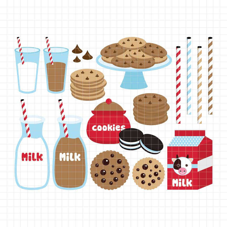 Cookies and Milk Digital Clipart