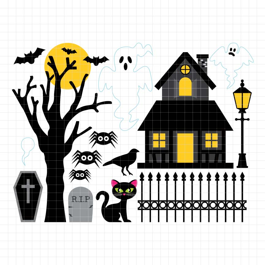 Haunted House Digital Clipart