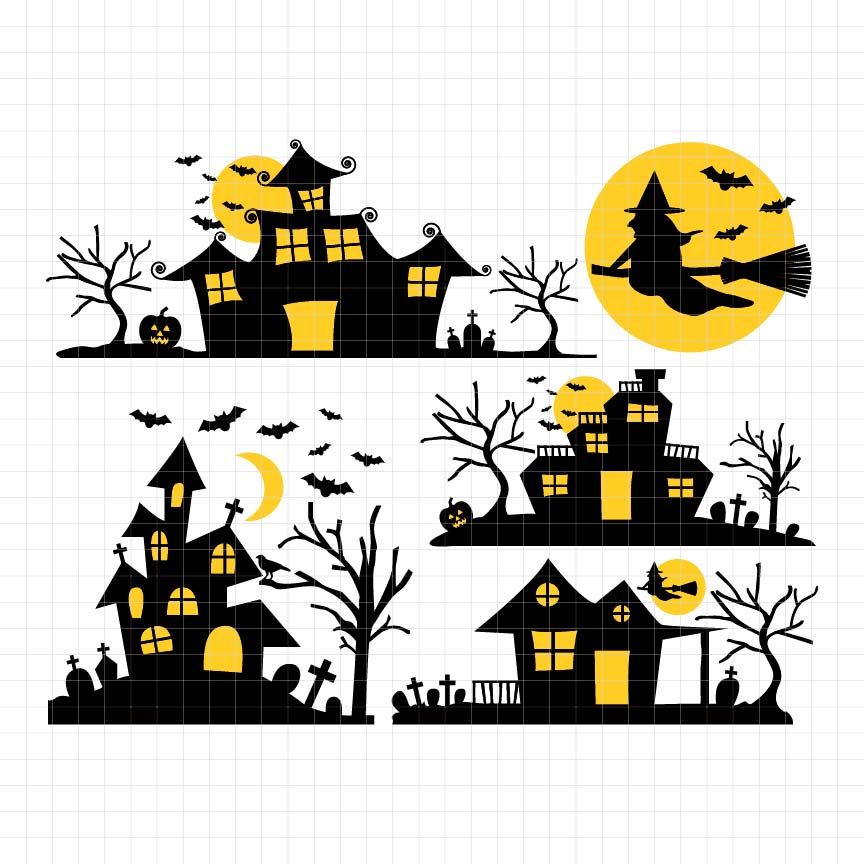 Ghost House Digital Clipart