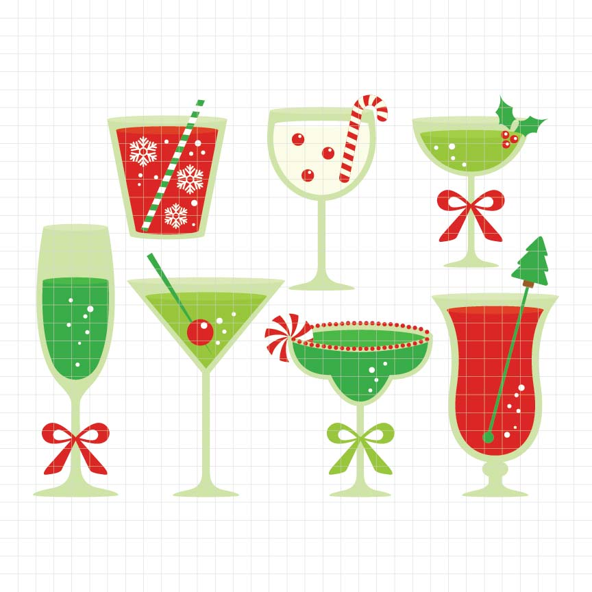 Christmas Cocktails Digital Clipart