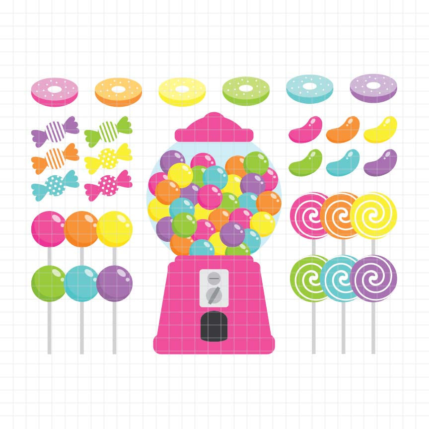 candy shop, gumball, lollipop, sweets, digital clipart, vector, graphic, illustration