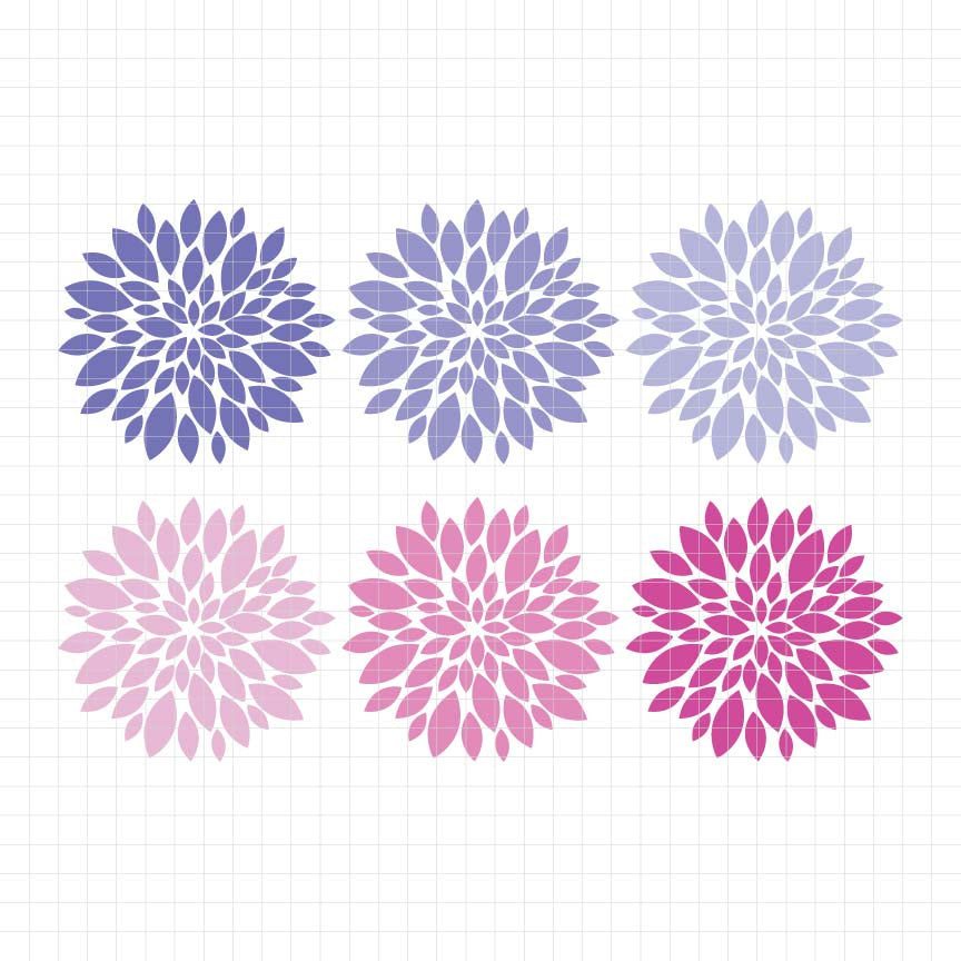 Beautiful Dahlias Digital Clipart