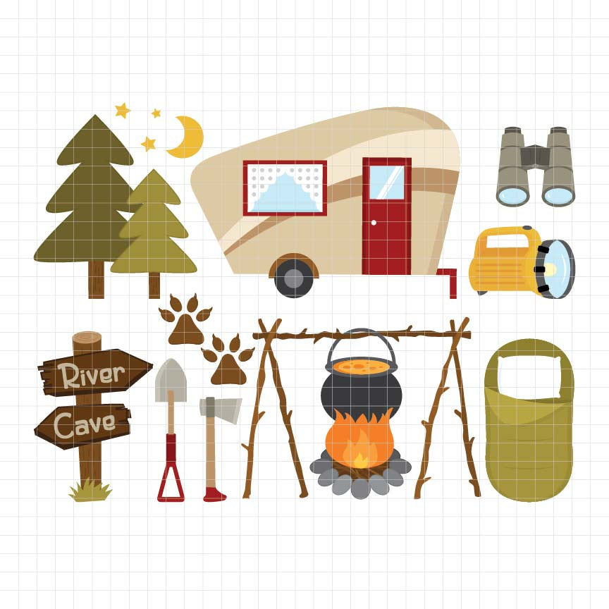 Camping Out Digital Clipart
