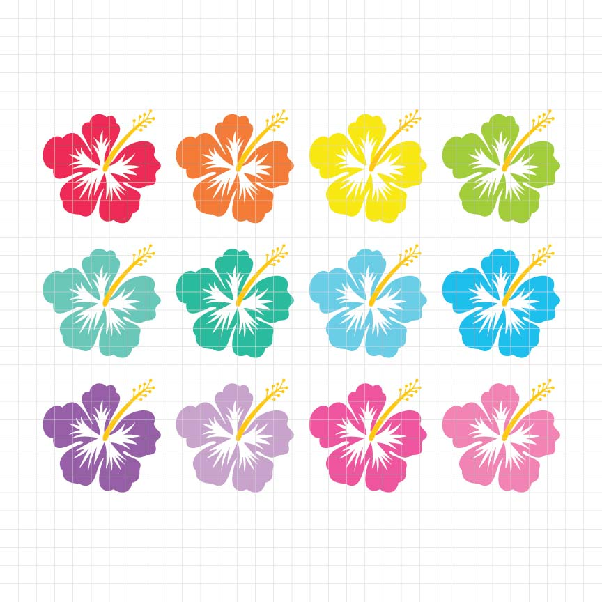 Hawaiian Hibiscus Digital Clipart