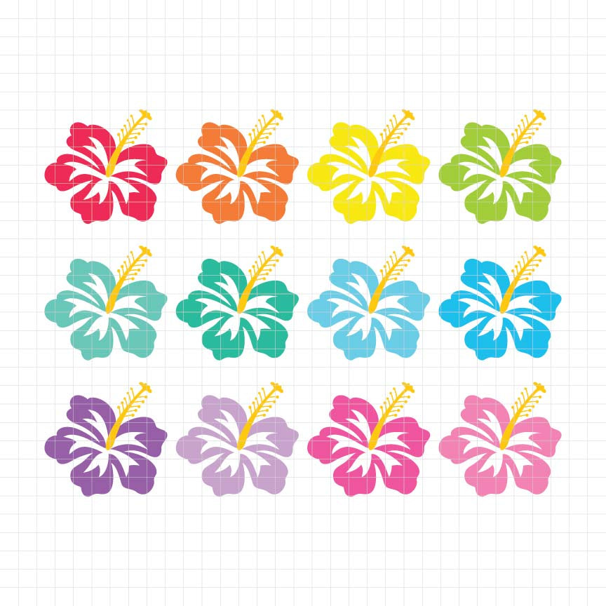 Tropical Hibiscus Digital Clipart