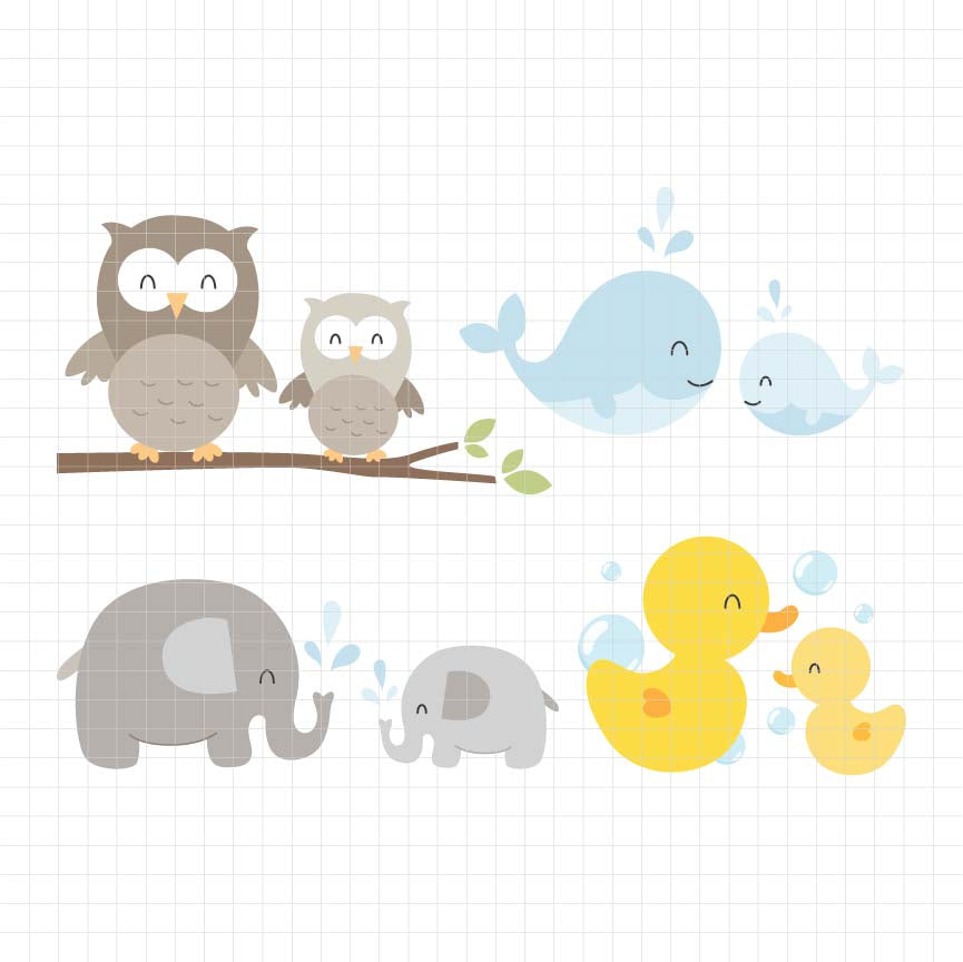 Mom and Baby Animals Digital Clipart