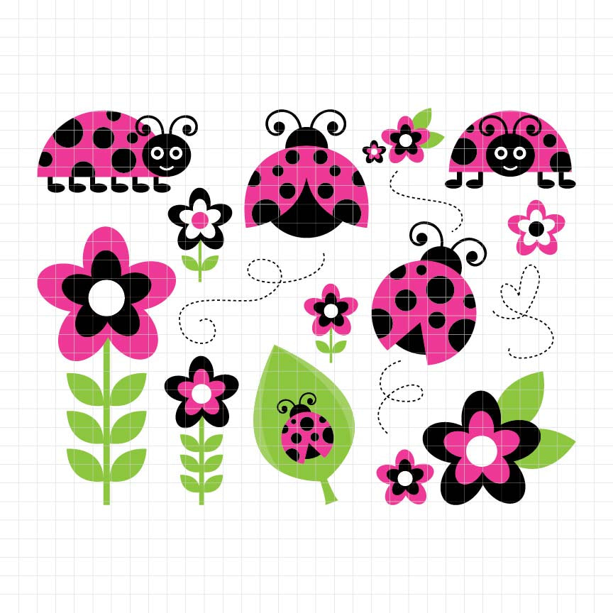 animals, insects, ladybugs, bug, red lady, digital clipart, graphic, vector, illustration, scrapbook, craft, supplies