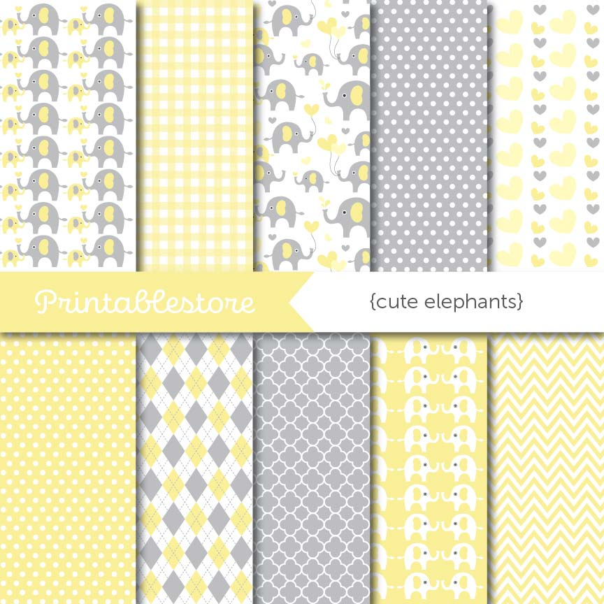 Cute Elephants Digital Paper