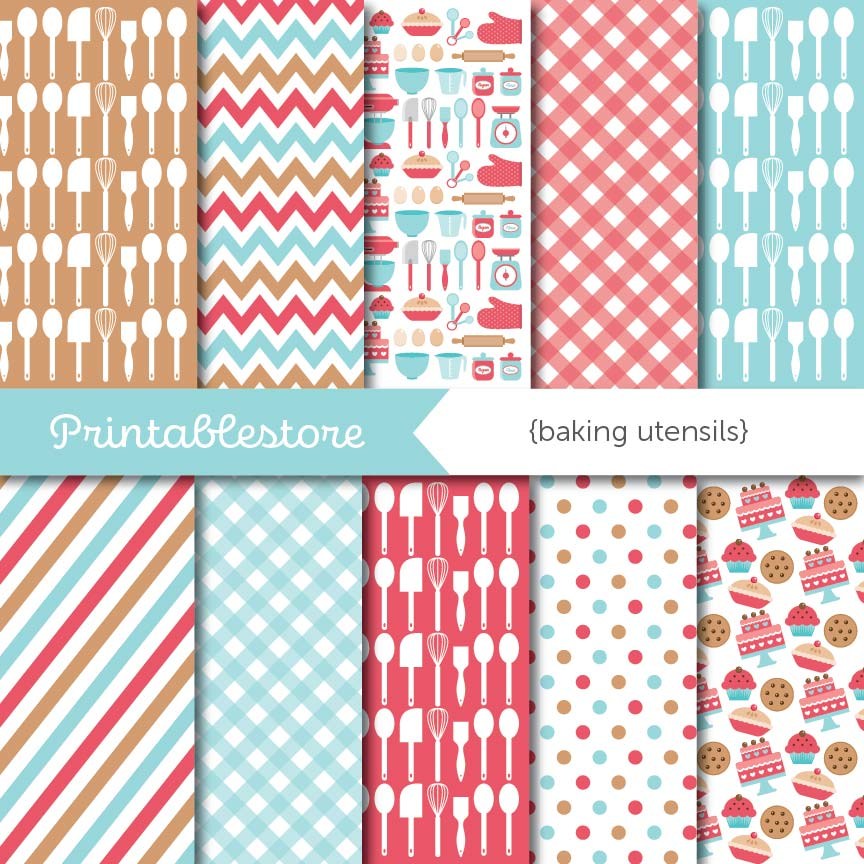 Baking Utensils Digital Paper