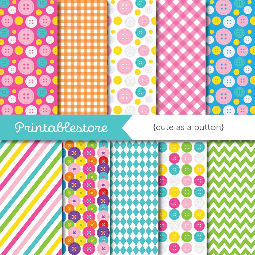Cute As Button Digital Paper