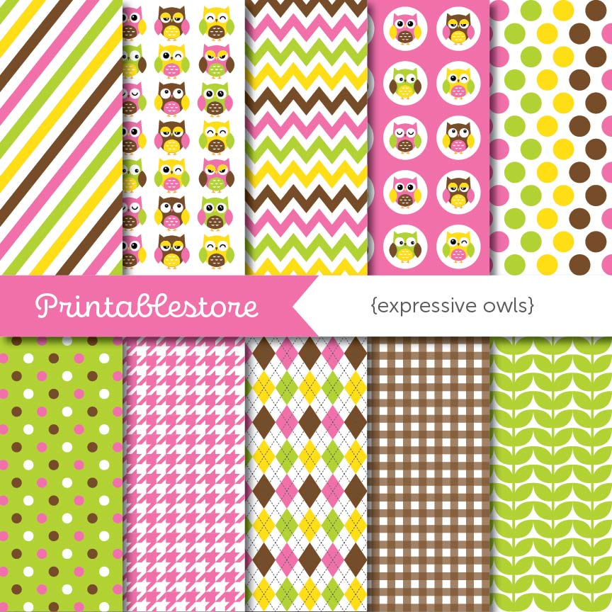 Expressive Owls Digital Paper