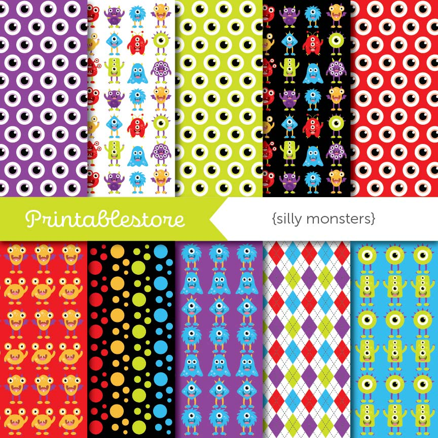 Silly Monsters Digital Paper