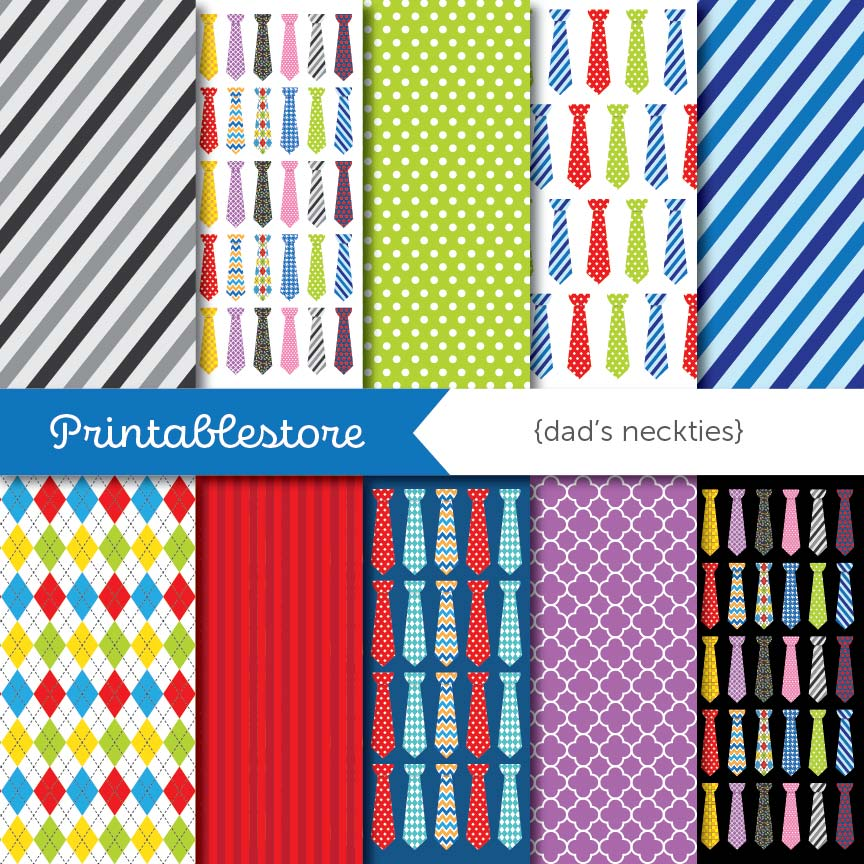 Dad's Neckties Digital Paper