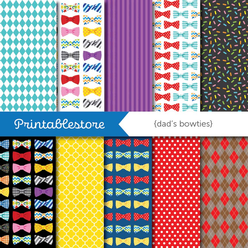 Dad's Bowties Digital Paper