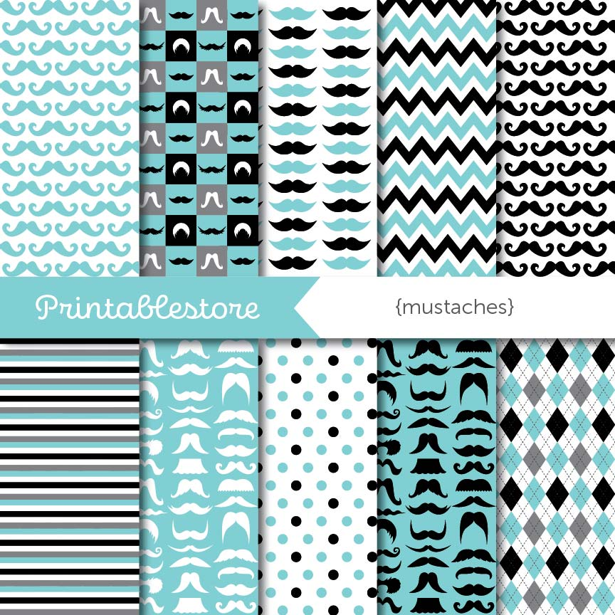 Mustaches Digital Paper