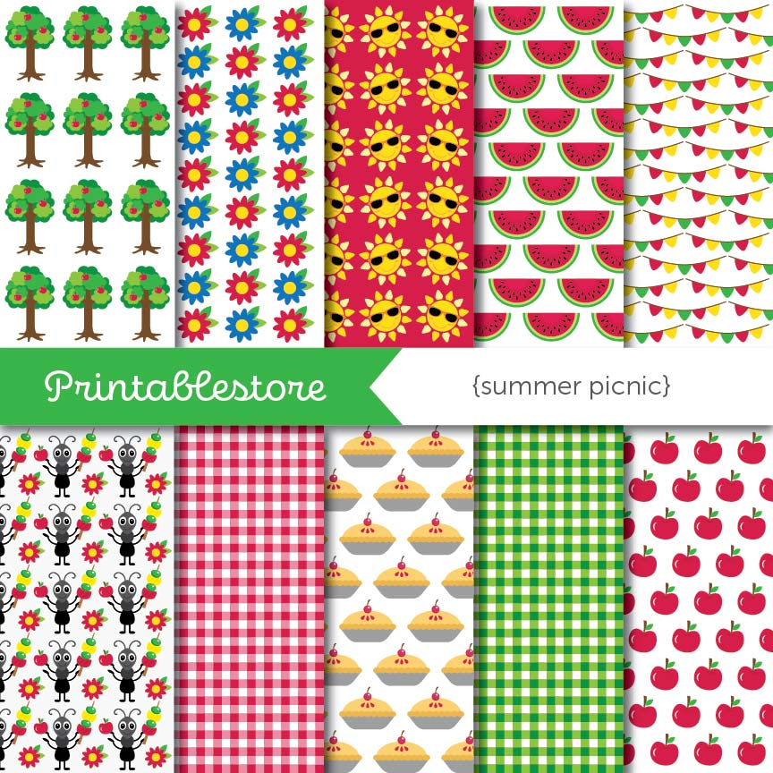 Summer Picnic Digital Paper