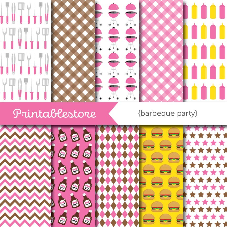 Barbeque Party Digital Paper