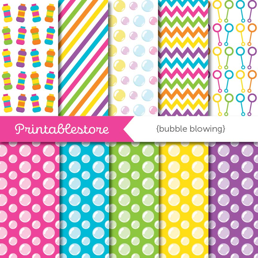 Bubble Blowing Digital Paper