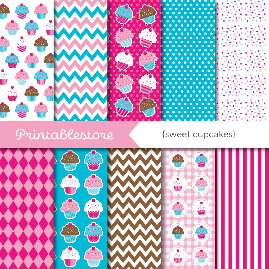 Sweet Cupcakes Digital Paper