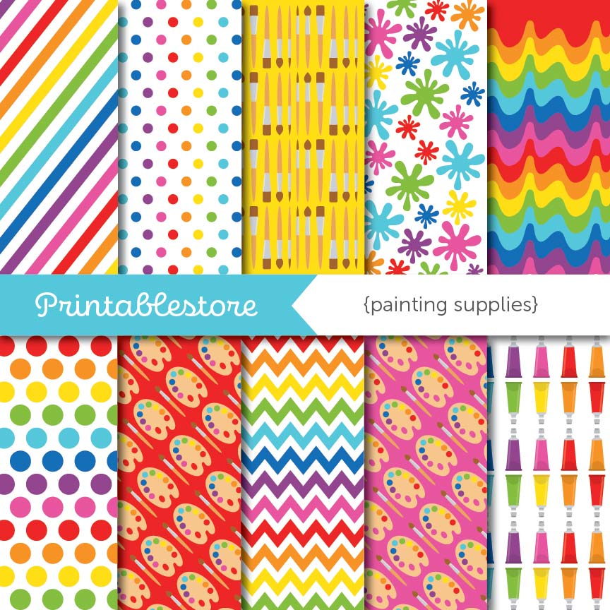 Painting Supplies Digital Paper