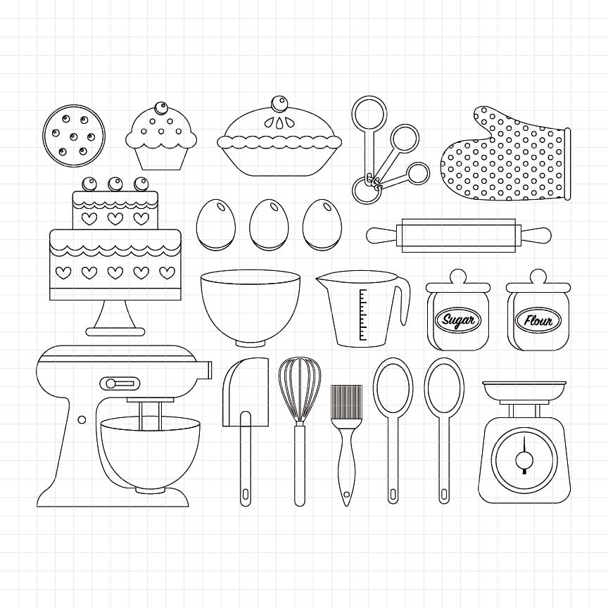 baking utensils, cooking, mixer, cake, rolling pin, oven mitt, pie, digital clipart, graphic, stamp, illustrations
